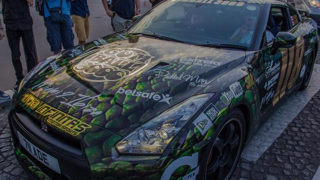 """The Nissan GT-R is affectionately nicknamed """"Godzilla"""" by the motoring community. So this Godzilla themed covering seems fitting."""