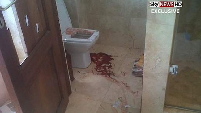 Oscar Pistorius's bloodied bathroom where Reeva Steenkamp was shot. Picture: Sky News
