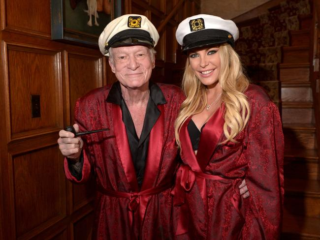 Hugh Hefner and his wife Crystal Hefner pictured at the Playboy Mansion in 2014. Picture: Charley Gallay/Getty Images