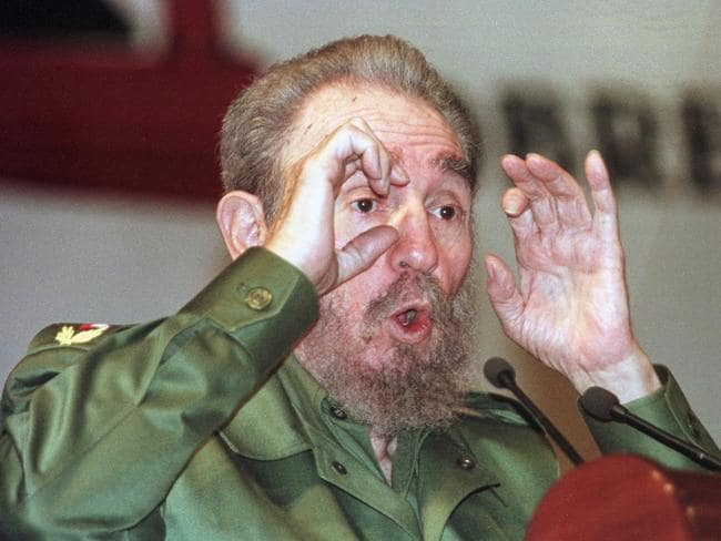 Then Cuban President Fidel Castro poses for the photographers during a meeting of the Seminario Juvenil y Estudiantil Internacional on August 17, 1999. Picture: AFP