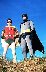 "<p>Actor Adam West as ""Batman"" with Burt Ward as ""Robin"" in scene from TV program ""Batman.""</p>"
