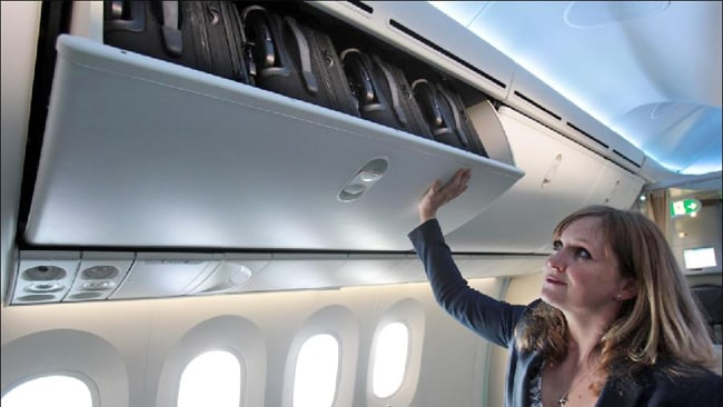 The overhead lockers are said to be the biggest on any plane. Picture: Ella Pellegrini