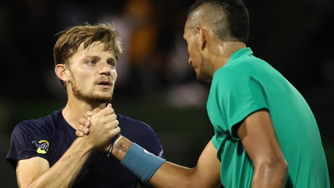 David Goffin was no match for the in form Kyrgios. Picture: Getty Images/AFP