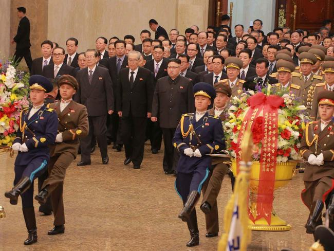 North Korean leader Kim Jong-un is pictured visiting the Kumsusan Palace of the Sun on the 75th birth anniversary of late leader Kim Jong Il, known as the Day of the Shining Star, to pay tribute to him, in Pyongyang. Picture: AAP