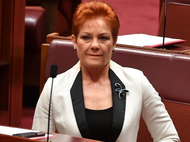 One Nation leader Senator Pauline Hanson is 'sick of hearing' about citizenship, but continues to question Labor members' status. Picture: Mick Tsikas/AAP