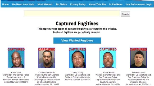 Found ... Christopher Viatafa has now been listed as 'captured' on the 'most wanted' website. Picture: Northern California Most Wanted
