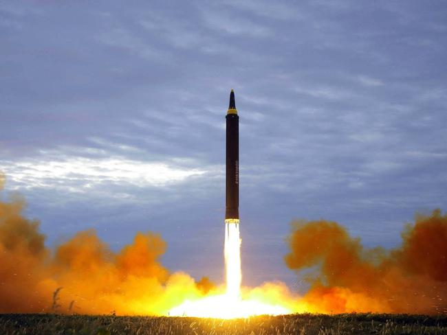 North Korea once again sparked global tensions after launching a Hwasong-12 intermediate range missile in Pyongyang in August. Picture: KCNA/AP