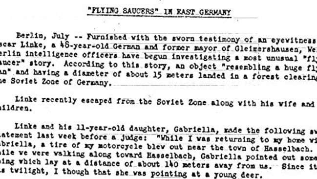 The flying saucer sighting in East Germany, 1952, took place during the Cold War. Picture: CIA.