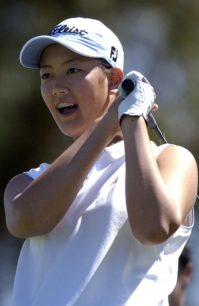 Michelle Wie playing the Kraft Nabisco Championships aged 13.