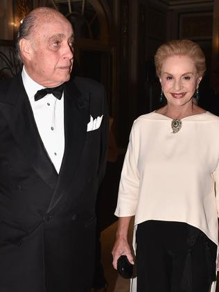 Reinaldo Herrera and fashion designer Carolina Herrera last month. Picture: Getty