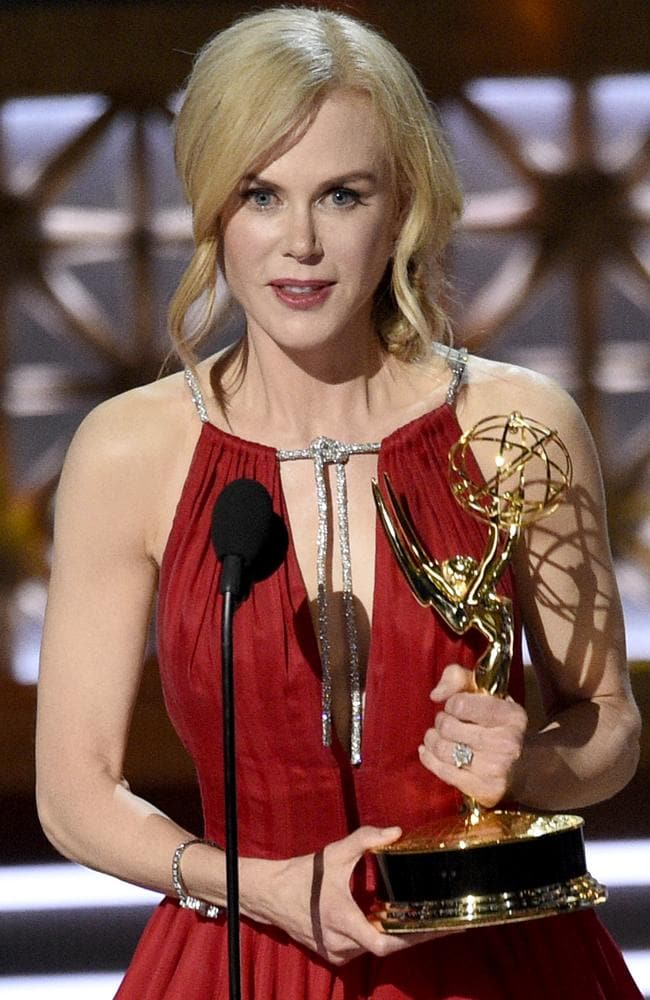 "Nicole Kidman accepts the award for outstanding lead actress in a limited series or a movie for ""Big Little Lies"". Picture: Chris Pizzello/Invision/AP"
