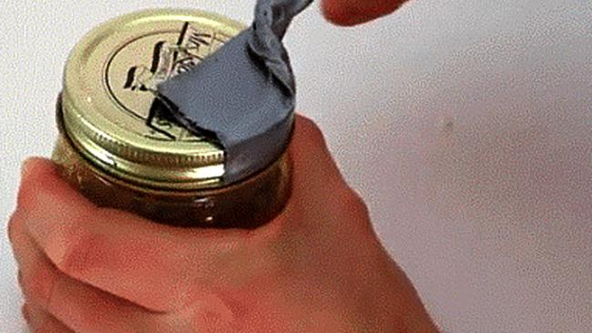 A piece of duct tape will help even the most stubbon jar lid come unstuck. Picture: 9gag.com