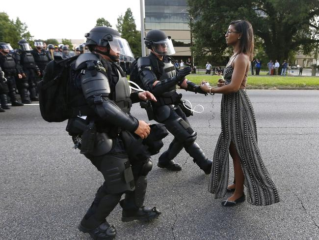 Critics said the Pepsi ad appeared to trivialise this protest photo featuring Ieshia Evans. She was detained by law enforcement near the Baton Rouge Police Department headquarters in Louisiana on July 9, 2016. Picture: Reuters/Jonathan Bachman