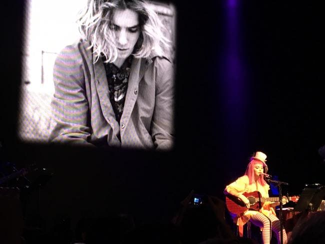 Madonna projected an image of her son Rocco behind her as she dedicated a song to son Rocco. Picture: Trent Titmarsh
