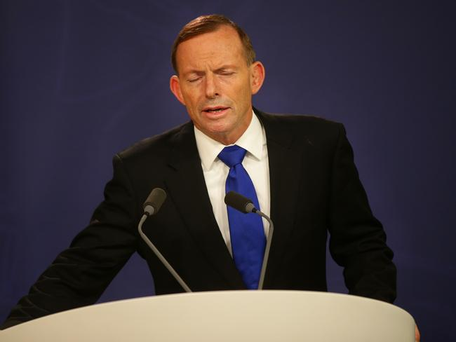 Putting up a fight ... Prime Minister Tony Abbott at his Sydney office today. Picture: Cameron Richardson.
