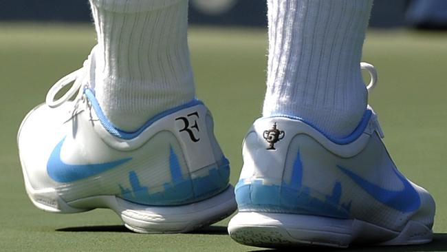 Roger Federer's custom shoes in 2010. Source: AFP PHOTO / Timothy Clary.