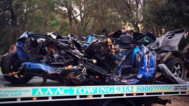 It was once a car ... The driver had to be cut free from this wreck. Picture: Supplied.