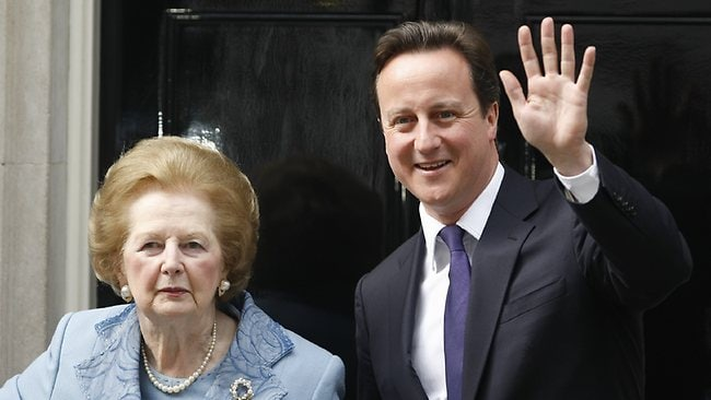 A June, 8, 2010 photo of British Prime Minister David Cameron with Margaret Thatcher on the doorstep of 10 Downing Street in London. Picture: AP