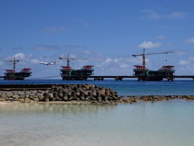 The under-construction China Maldives Friendship Bridge is pictured near the city of Male. The international community has censured Maldives President Abdulla Yameen for imposing a state of emergency. Picture: AFP