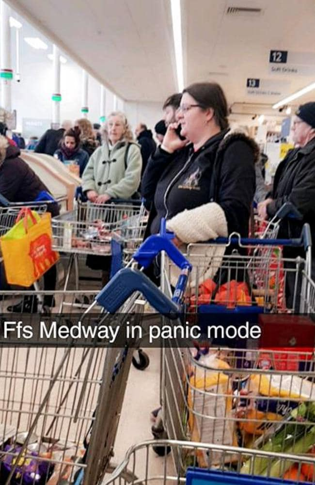 Shoppers at a rammed Tesco store in Kent, England, as customers bulk buy in fear the Beast from the East will bring the country to a halt.
