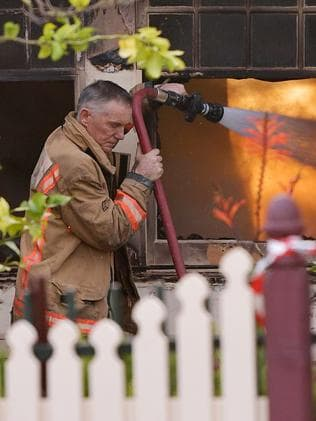 A firefighter pictured at the scene. Picture: David Mariuz/AAP