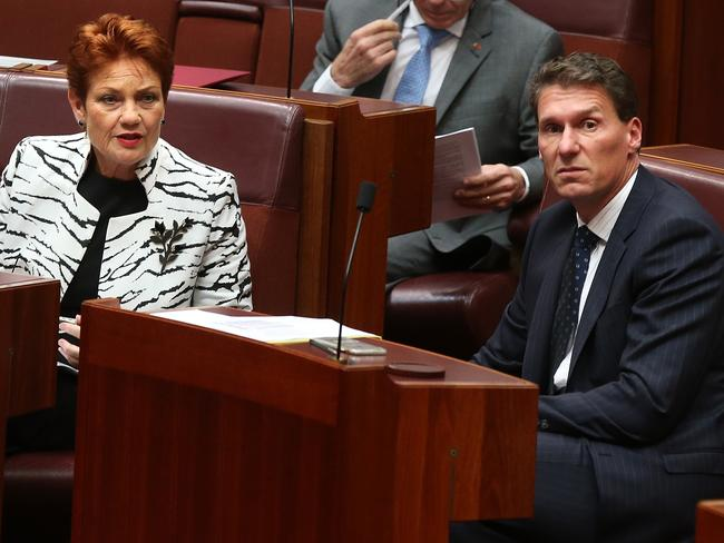Minor party leaders Senator Pauline Hanson and Senator Cory Bernardi are celebrating the PM's controversial comments. Picture: Kym Smith