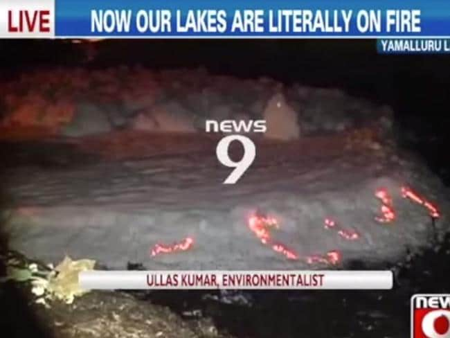 The lake catches fire when the toxic water mixes with grease and oil.