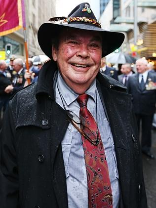 """Found a sense of family"" ... Ray McMinn at the Anzac Day march in Sydney's CBD."