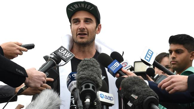 Jobe Watson speaks to the collective media. Picture: Nicole Garmston