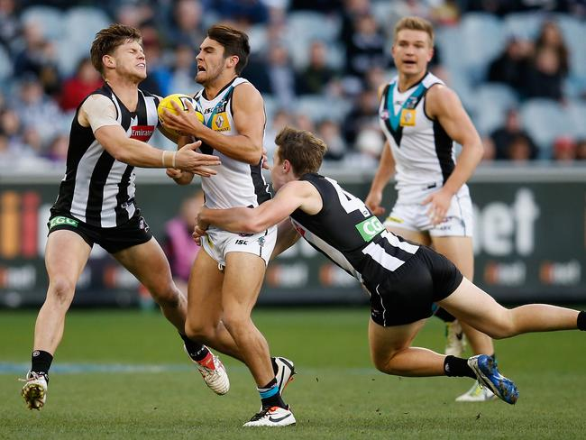 Chad Wingard is tackled during Port's loss to Collingwood. Pic: Getty
