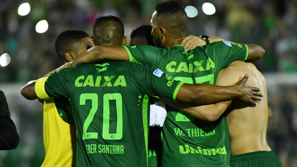 Brazil's Chapecoense footballers celebrate after defeating Argentina's San Lorenzo last week.