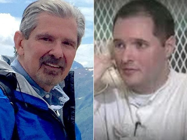 Kent Whitaker (L) on a hike and his son Bart (R) talking on a telephone from prison in Polunsky, Texas. Picture: AFP