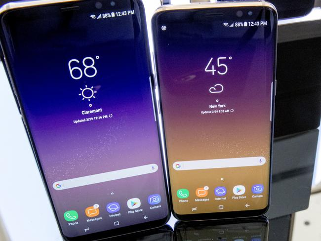 The Galaxy S8 features a larger display than its predecessor, the Galaxy S7, and sports a voice assistant intended to rival Siri and Google Assistant. Picture: AP Photo/Mary Altaffer