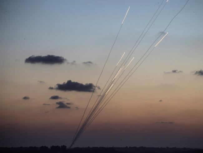 Rockets are fired from inside the Gaza strip towards Israel on the sixth day of Israel's operation Protective Edge as seen from Sderot, Israel. Picture: Andrew Burton/Getty Images
