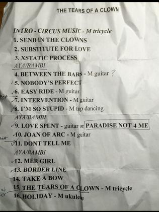 The Tears of a Clown setlist. Picture: Trent Titmarsh