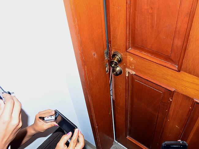 "View of the door of the apartment of the Miramar condominium in which Mexican drug trafficker Joaquin Guzman Loera aka ""el Chapo Guzman"" was arrested."