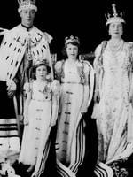 <p>Britain's Queen Elizabeth the Queen Mother with her husband King George VI and their daughters Princess Elizabeth (later Queen Elizabeth II), second from right, and Princess Margaret in a photo taken after the coronation of her husband in 1937. Picture: File</p>
