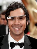 Big Bang Theory actor Kunal Nayyar arrives wearing google glasses on the red carpet. Picture: Getty