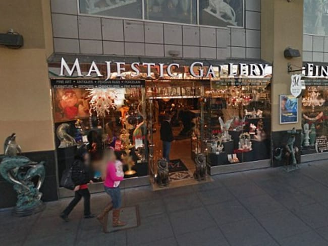 Tragic accident ... this Google Streetview image shows a dolphin statue outside the San Francisco shop.