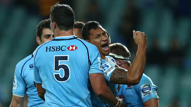 Israel Folau celebrates his try for the Waratahs.