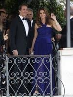 Cindy Crawford, right, and Rande Gerber leave the Cipriani hotel to go to the George Clooney's wedding with Amal Alamuddin, in Venice, Italy on Saturday, September 27th 2014. Picture: AP