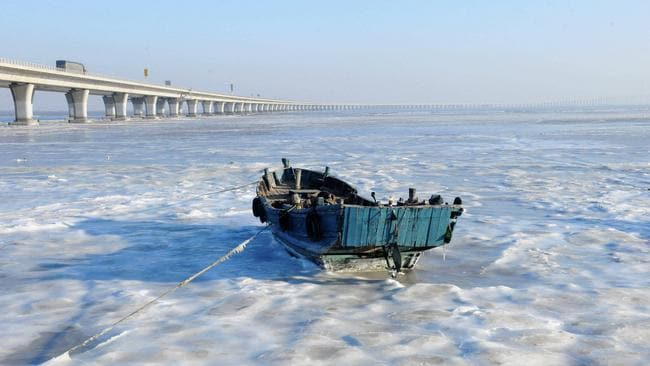 Going nowhere ... Water transport has come to a halt with most waterways frozen. Picture: Splash