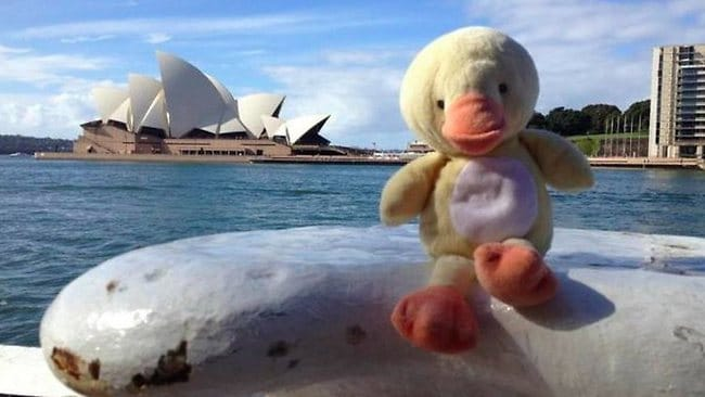 Another task was to take a picture of this baby's toy duck in front of places he had visited. Picture: Generique/Reddit