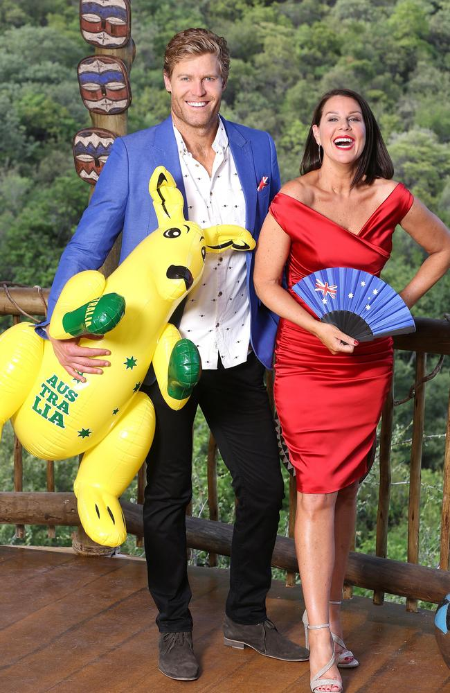 Chris Brown and Julia Morris on the set of I'm a Celebrity ... Get Me Out of Here!