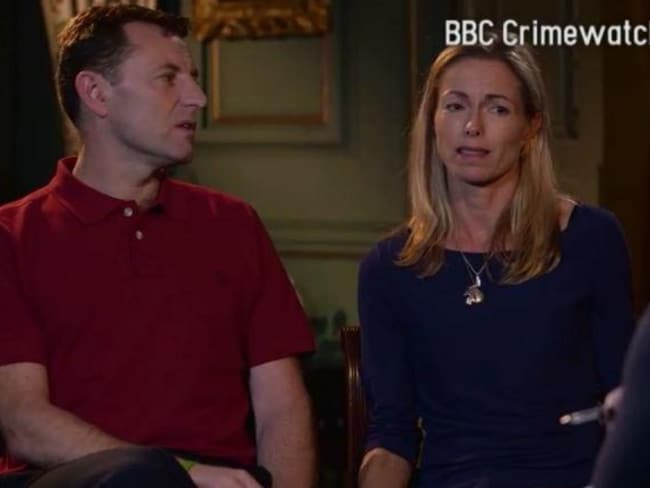 'Encouraged' ... a screenshot from an interview with Kate and Gerry McCann, parents of Madeleine who went missing on a family holiday in 2007. Picture: BBC