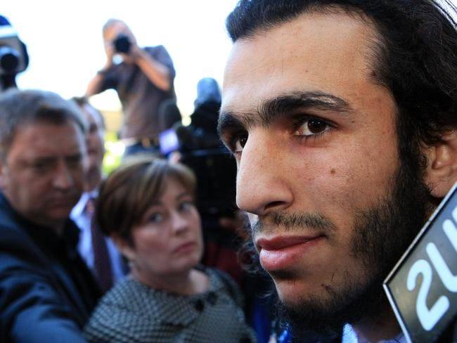 Mohamed Elomar talks to the media outside court after jury returned guilty verdicts in the trial of Mohamed Ali Elomar, Abdul Rakib Hasan, Khaled Cheikho, Moustafa Cheikho and Mohammed Omar Jamal on charges of committing acts in preparation for a terrorist act or acts, at Supreme Court, Parramatta in Sydney.