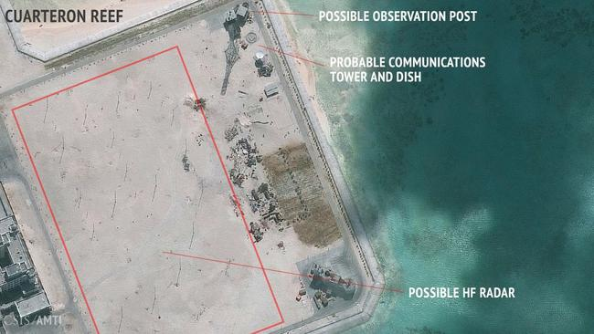 The Asian superpower appears to be building radar poles and communications equipment in the south of the outpost. Picture: CSIS Asia Maritime Transparency Initiative/DigitalGlobe