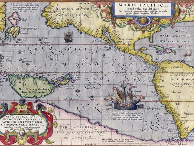 Abraham Ortelius' Map of the Pacific with the Terra Australis dominating the south.