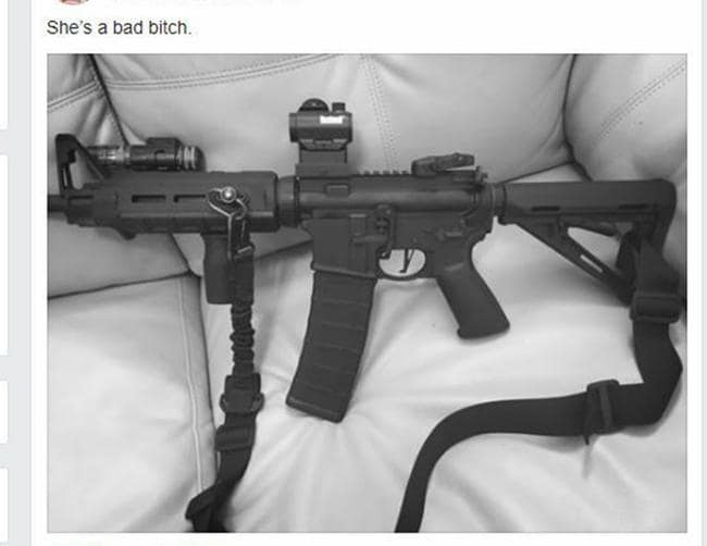 Kelley posted this picture of a gun on Facebook recently. Picture: Facebook