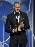 Alexander Skarsgard accepts the award for Best Performance by an Actor in a Supporting Role in a Series, Limited Series or Motion Picture Made for Television for Big Little Lies during the 75th Annual Golden Globe Awards. Picture: Getty